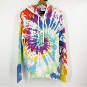 NWT Peloton x Spiritual Gangster Rainbow Tie Dye Hoodie Sweatshirt Unisex M